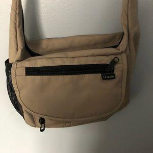 LL Bean crossbody utility style tan bag